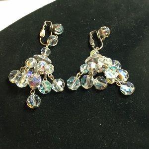 Vintage Czech sparkling crystals dangle  earrings